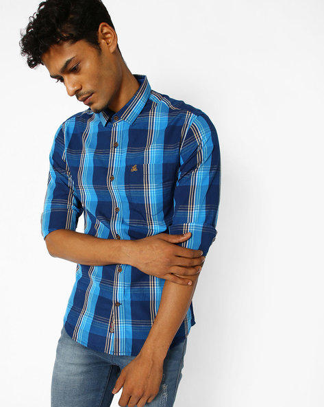Checked Slim Fit Shirt By The Indian Garage Co ( Navy )
