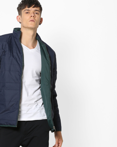 Reversible Quilted Jacket By Fort Collins ( Navyblue )