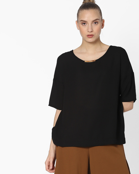 Boxy Top With Drop-Shoulder Sleeves By FIG ( Black )