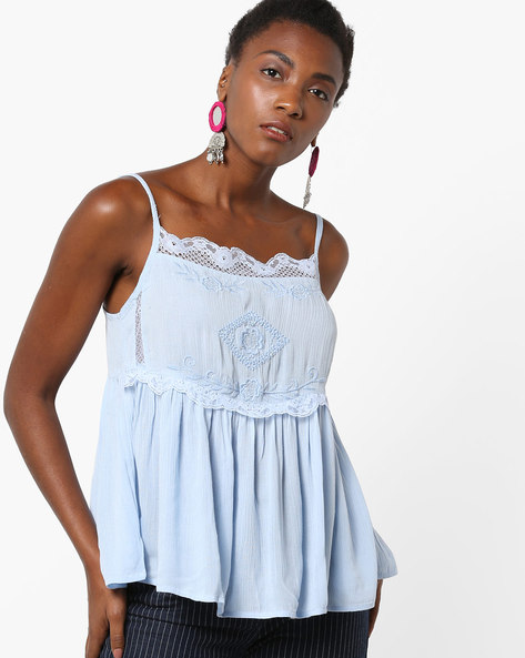 Embroidered Strappy Top With Lace Trims By Rena Love ( Blue )