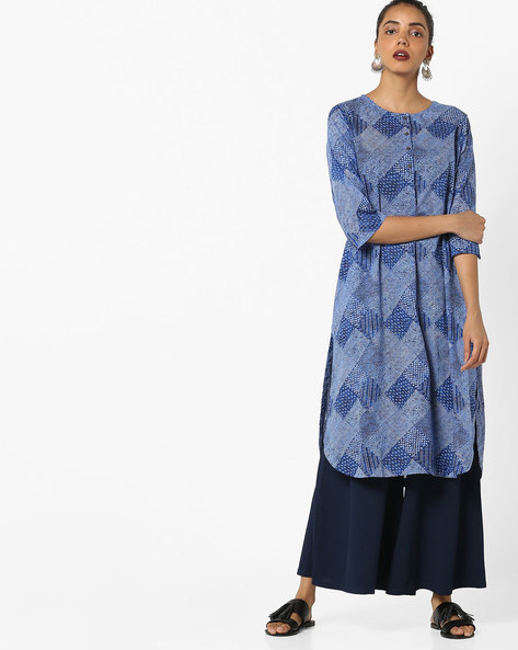 Geometric Print Straight Kurta By Project Eve IW Casual ( Blue )