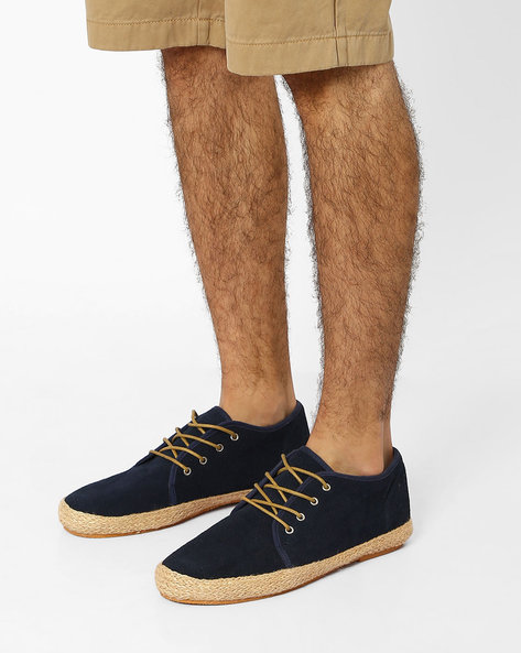 Suede Lace-Up Espadrilles By FAMOZI ( Blue )