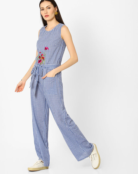 Checked Jumpsuit With Tie-Up By AJIO ( Blue )