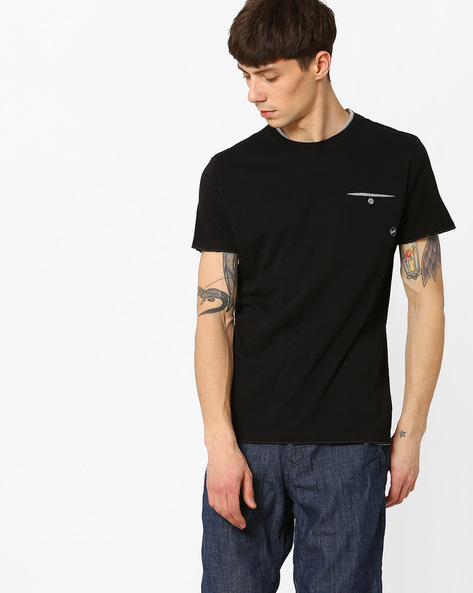 Crew-Neck T-shirt With Patch Pocket By GAS ( 0200 )