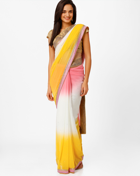 Embellished Ombre‑Dyed Saree By Akoya ( Red )