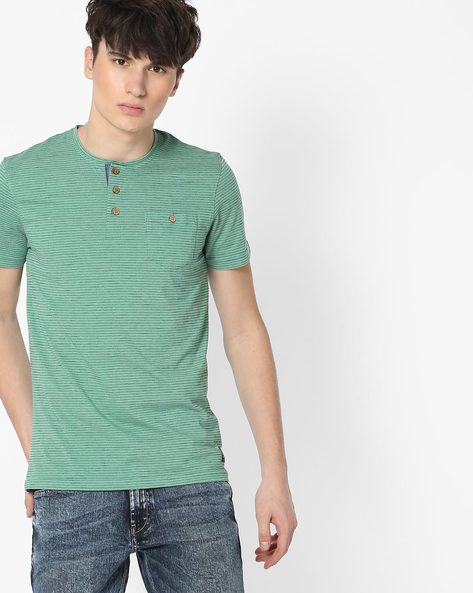 Striped Henley T-shirt With Patch Pocket By DNMX ( Green )