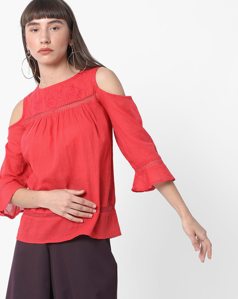 Cold-Shoulder Top With Embroidered Yoke By DNMX ( Red )