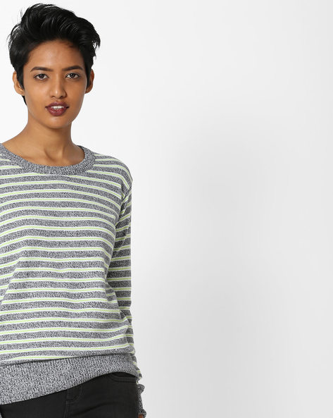 Striped Cotton Pullover By Teamspirit ( Charcoal )