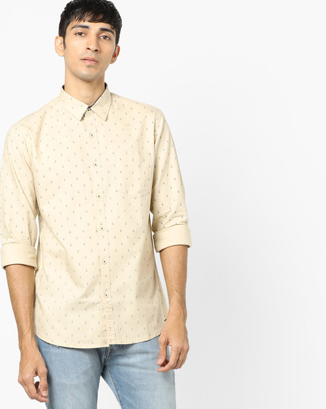 Ditsy Print Slim Fit Shirt By AJIO ( Beige )