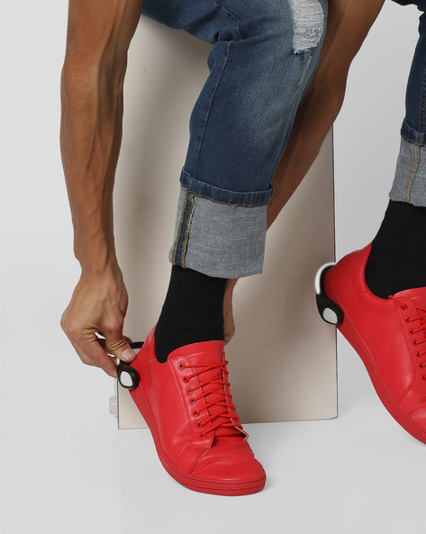 Lace-Up Sneakers With Detachable LED Bands By AJIO ( Red )