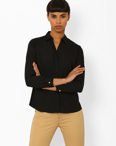 Shirt With Concealed Placket By Annabelle By Pantaloons ( Black )