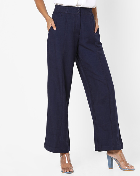 Palazzo Pants With Elasticated Waist By Oxolloxo ( Navy )