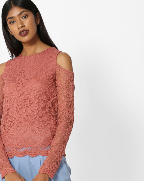 Floral Lace Cold-Shouldered Top By Only ( Peach )