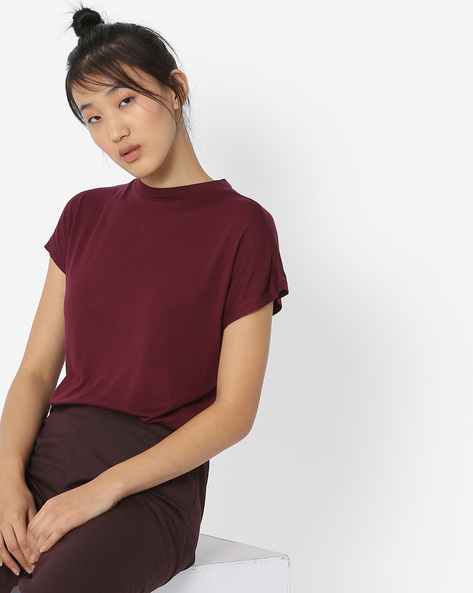 High-Neck T-shirt With Extended Sleeves By Lee ( Brown )