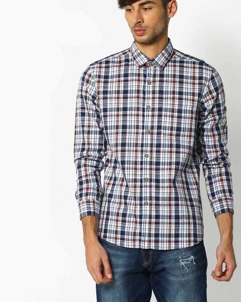 Checked Regular Fit Shirt By NETPLAY ( Navy )
