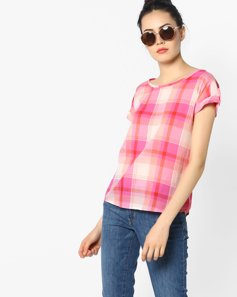 Checked Top With Roll-Up Tabs By WRANGLER ( Pink )