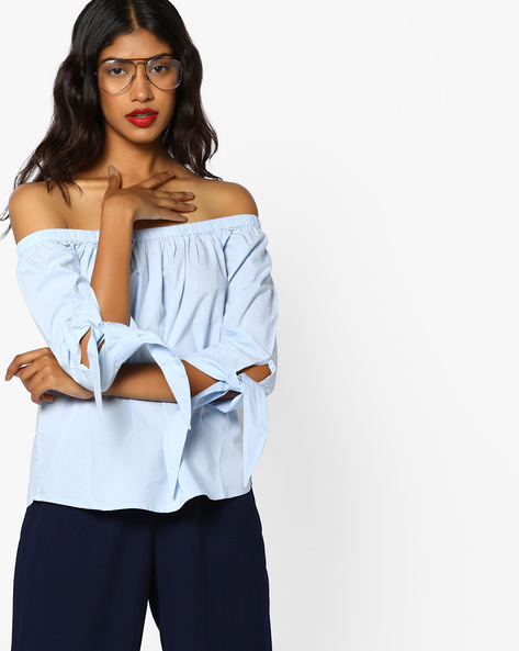 Off-Shoulder Top With Sleeve Tie-Ups By Vero Moda ( Offwhite )