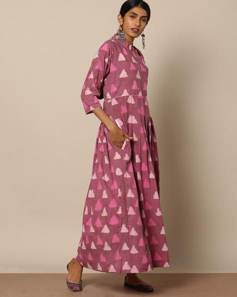 Printed Cotton Maxi Dress By Miar Designs ( Pink )