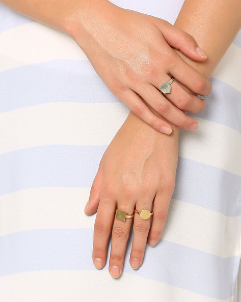 Set Of 3 Geometric-Shaped Stackable Rings By Style Fiesta ( Multi )