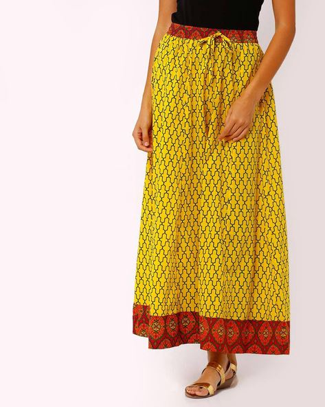 Printed Palazzo Pants With Elasticated Waist By AVAASA MIX N' MATCH ( Yellow )