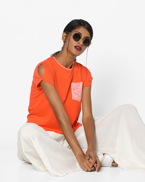 Cotton T-shirt With Cold-Shoulder Sleeves By Lee ( Orange )