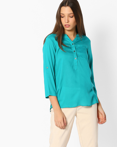 Top With Mandarin Collar By BOSSINI ( Teal )