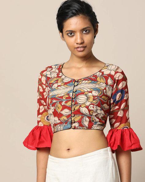 Kalamkari Print Cotton Blouse With Flounce Sleeves By Indie Picks ( Multi ) - 460167919001
