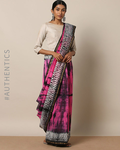 Shibori Tie-Dye Chanderi Saree With Zari By Indie Picks ( Multi ) - 460146845001