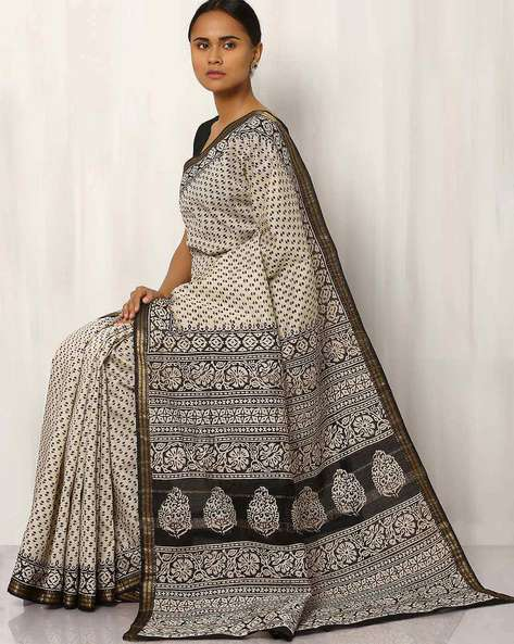 Maheshwari Hand Block Printed Cotton Saree By Rudrakaashe-MSU ( Offwhite ) - 460017580001