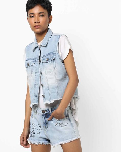 Denim Crop Jacket With Frayed Hems By AJIO ( Lightblue )