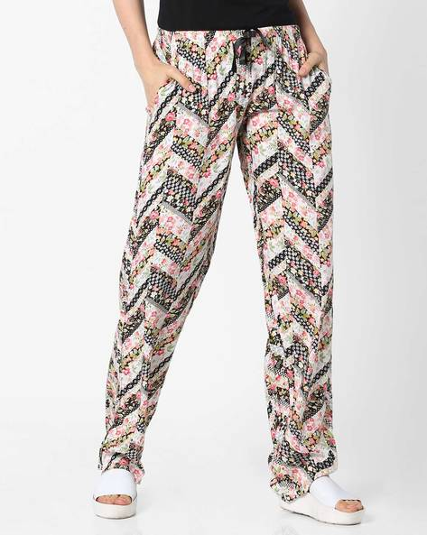 Floral Print Lounge Pants By Heart 2 Heart ( Black )