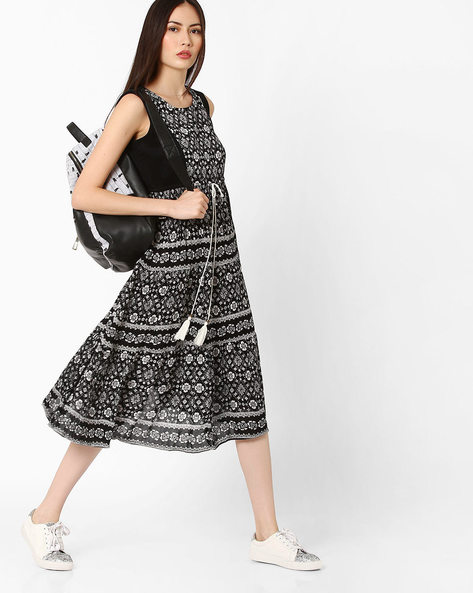 Printed Tunic With Tie-Up By COLOUR ME ( Black )