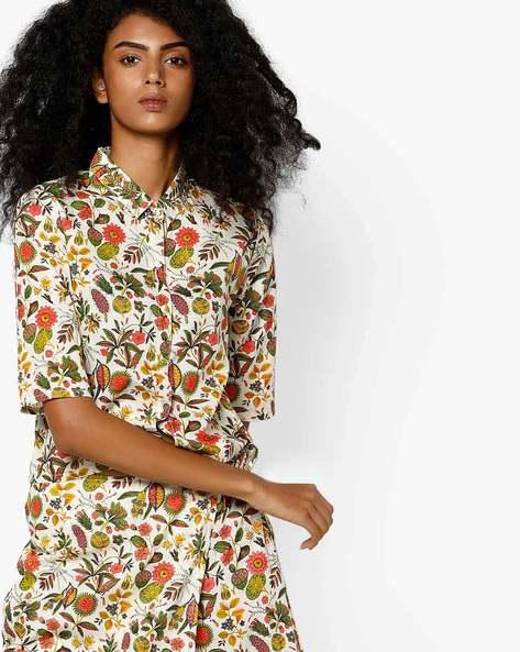 Floral Print Shirt By AJIO ( Offwhite )