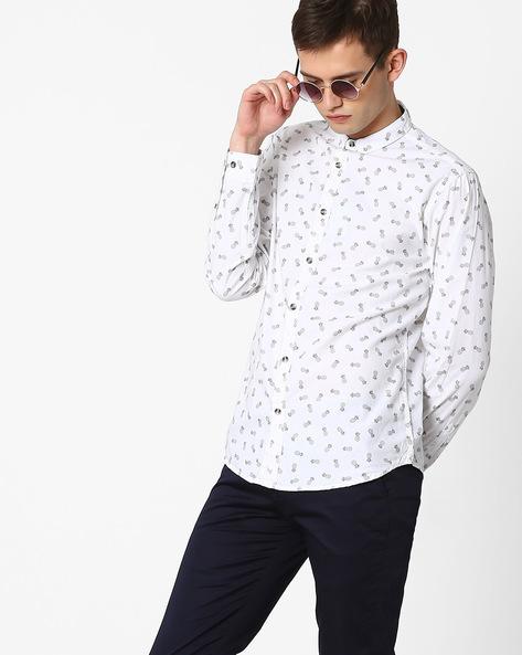 Printed Slim Fit Shirt By AJIO ( White ) - 460052319002