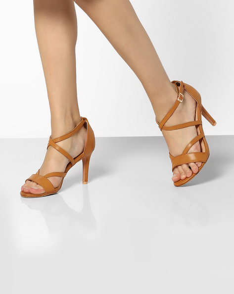 Ankle-Strap Stilettos With Criss-Cross Upper By AJIO ( Tan )