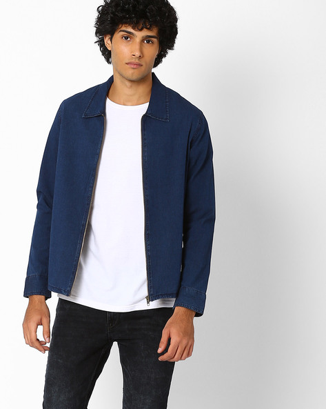 Denim Shacket With Zip Closure By ADAMO LONDON ( Indigo )