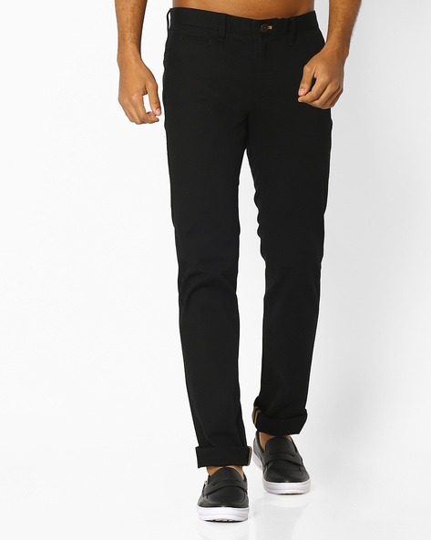 Slim Fit Flat-Front Trousers By INDIAN TERRAIN ( Black )