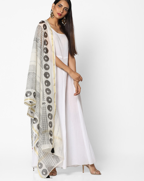Printed Dupatta With Tassels By W ( Grey )