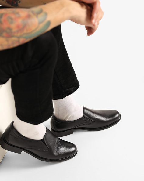 Leather Slip-Ons With Elasticated Gussets By RED CHIEF ( Black )