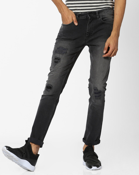 Mid-Washed Skinny Jeans With Distressing By VOI JEANS ( Darkgrey )