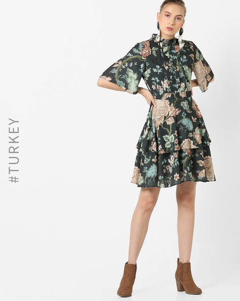 Floral Print Tiered Dress By TRENDYOL ( Black )