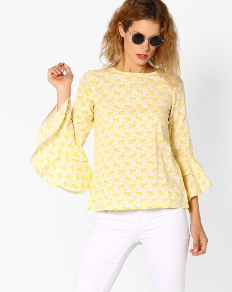 Floral Print Top With Bell Sleeves By And ( Ltmulti )