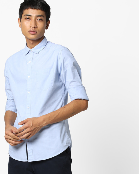 Cotton Slim Fit Shirt With Patch Pocket By Black Coffee ( Blue )