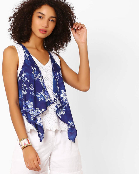 Printed Waterfall Jacket With Sleeveless Top By Biba ( Indigo )