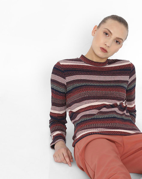 Striped Self-Design Top By Vero Moda ( Rednavy )