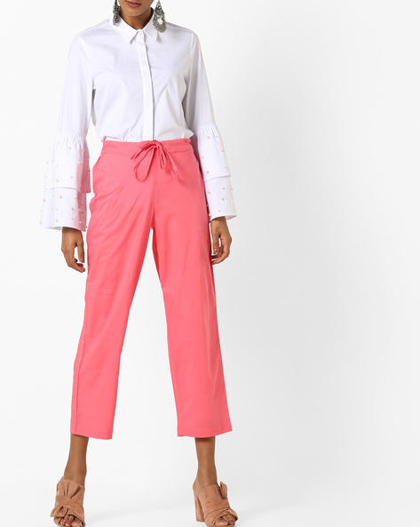 Cropped Pants With Drawstring Waist By AJIO ( Coral )