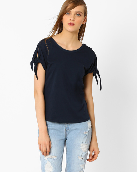 T-shirt With Tie-Ups By Marks & Spencer ( Navyblue )