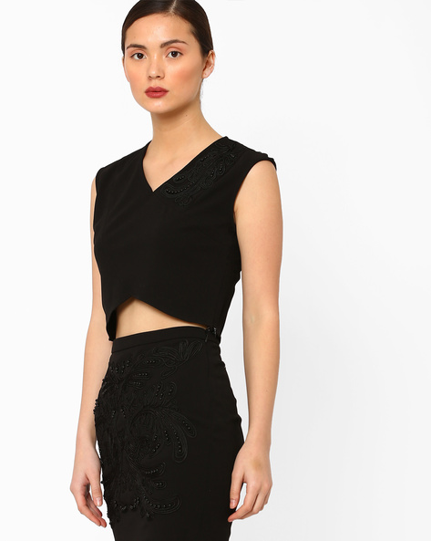 Sleeveless Crop Top With Chord Embroidery By AJIO ( Black )