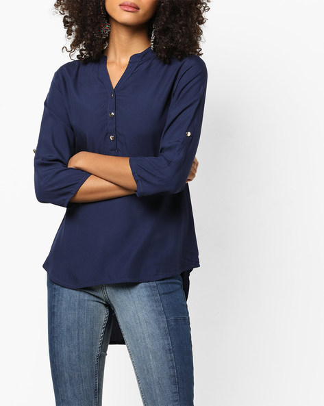 High-Low Kurta With Notched Neckline By ETHNIC CURRY ( Navyblue )
