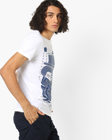 Graphic Print Slim Fit Cotton T-shirt By Jack & Jones ( White )